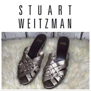 Stuart Weitzman metallic weave mule clog heels
